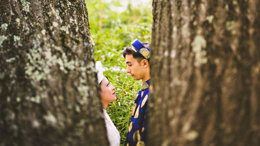 Backyard Vietnamese wedding portraits