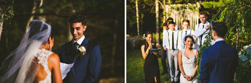 Sunset Rhode Island backyard wedding ceremony