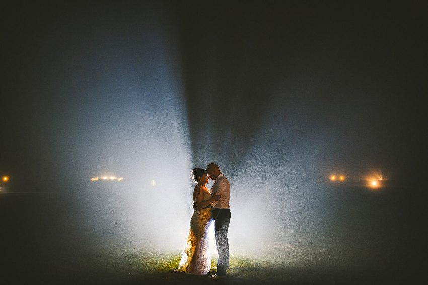 Cape Cod backlit misty wedding night portrait