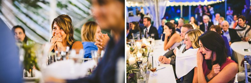 Wedding guests reacting to speeches