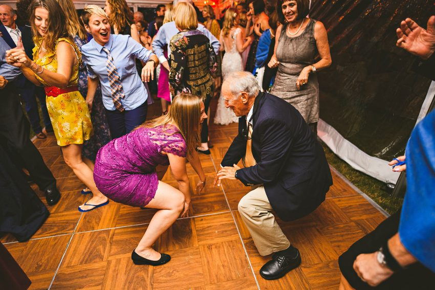 Maine wedding guests on dancefloor