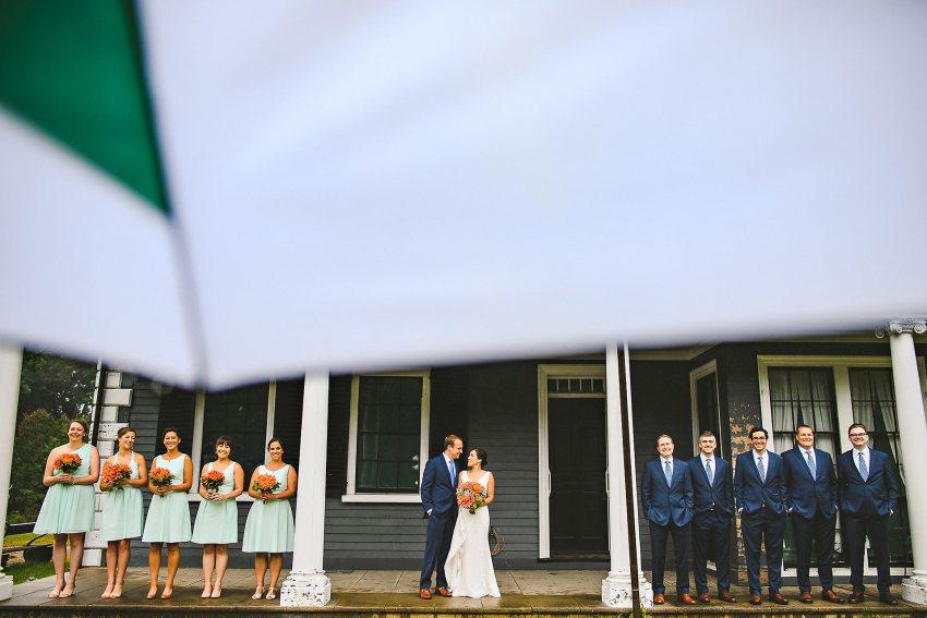 Lincoln Codman Estate rainy day wedding party on deck