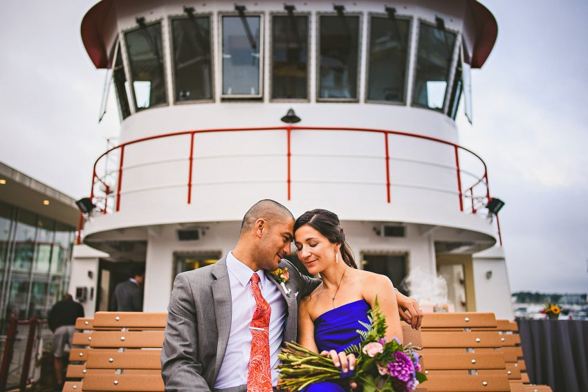 Intimate Portland wedding portrait on boat