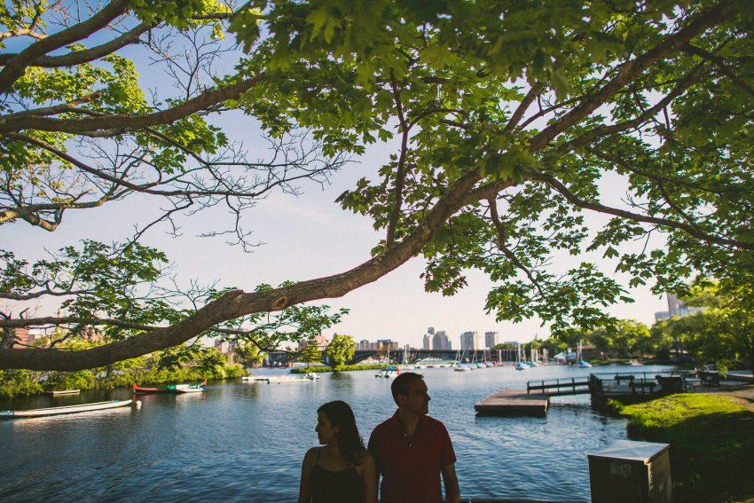 Charles River Esplanade silhouette engagement portrait