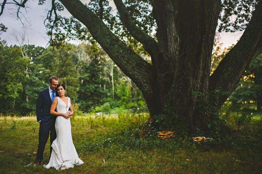 Codman Estate wedding portrait under big tree