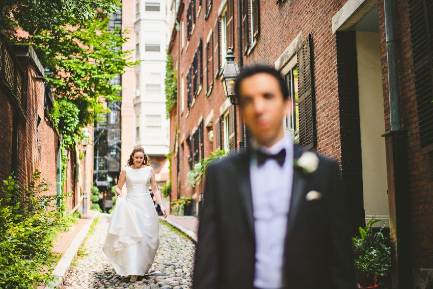 Acorn Street wedding first look