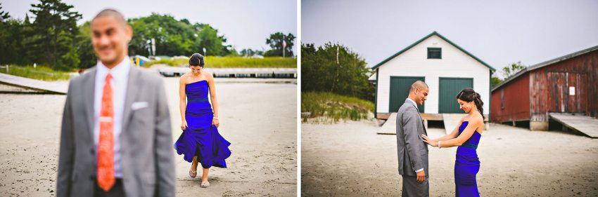 Maine wedding first look on beach