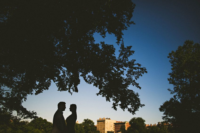 Boston engagement photo silhouette
