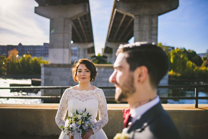 Wedding photo under bridge