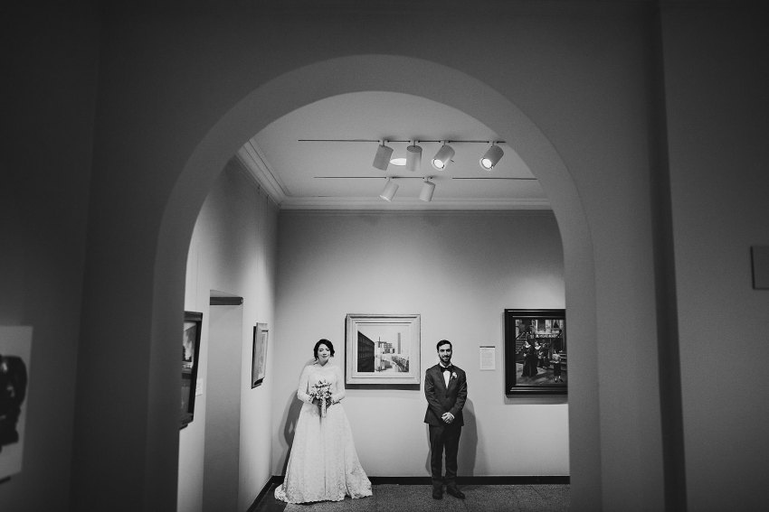Art museum wedding portraits