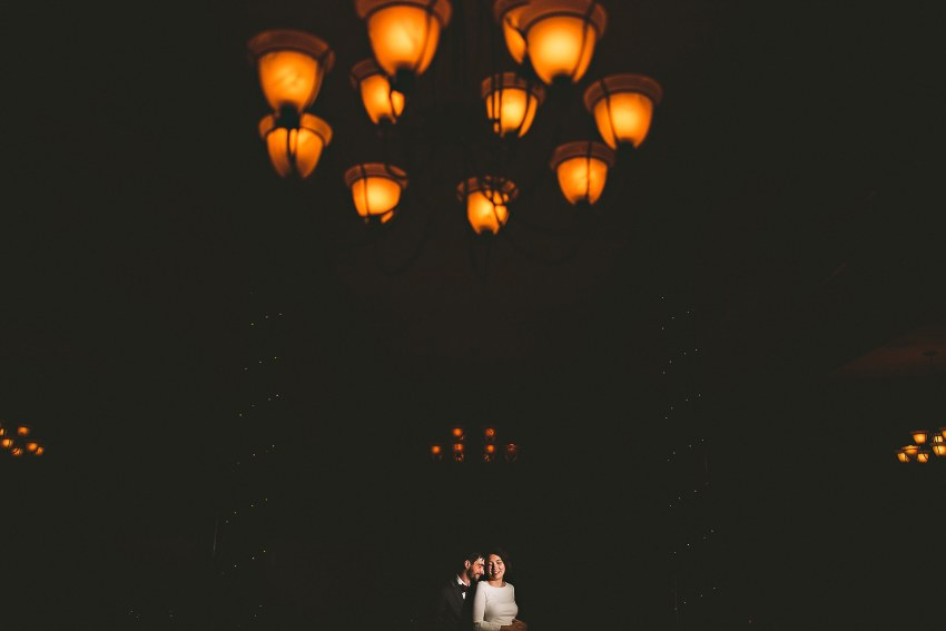 Wedding portrait in reception hall