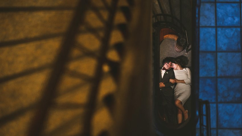 Fratellos wedding portrait in stairwell