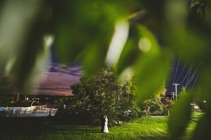 Dramatic night wedding portrait in Portsmouth