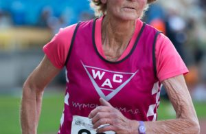 Anne Martin running in competition at the British Masters Open Championships 2016