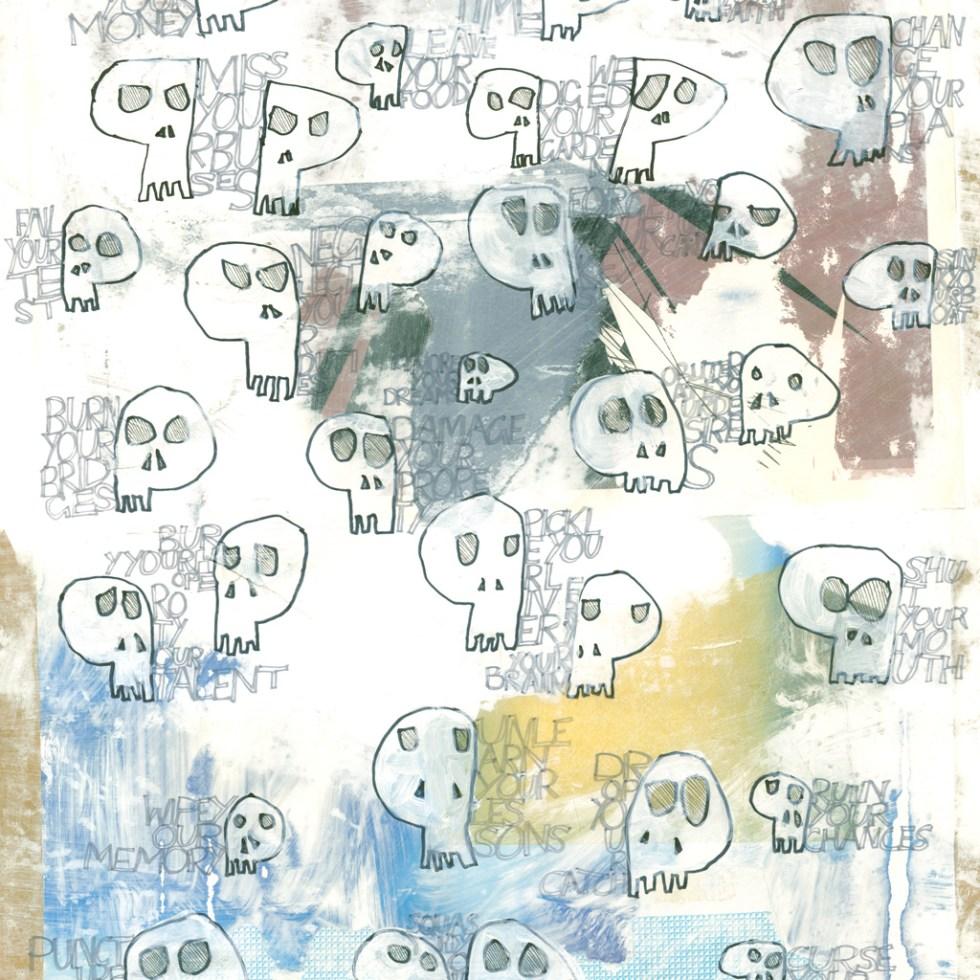 Pattern and print design SkullMottos (aram 1256) by Alex Russell