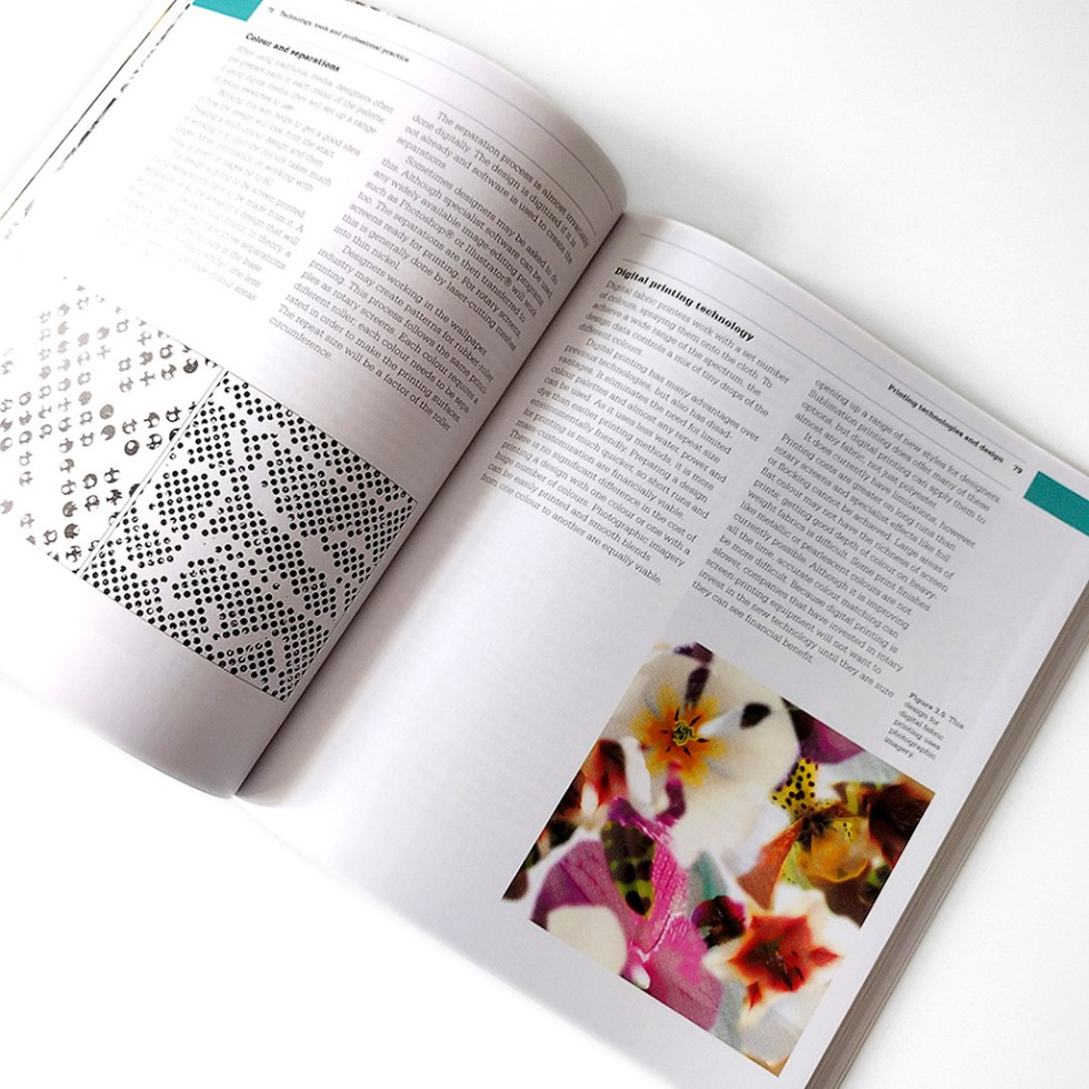"""A spread from the print version of the second edition of """"The Fundamentals Of Printed Textile Design"""" by Alex Russell"""