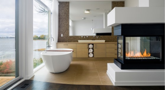 Bathroom + Fireplace + Open Windows