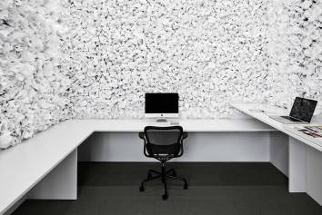 Office Space With Paper On Walls the walls are clad in acoustic-muffling paper – a separate and undisturbed workplace.