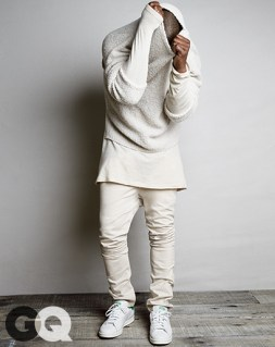 Sweater, $340 and jeans, $295 by A.P.C. Kanye