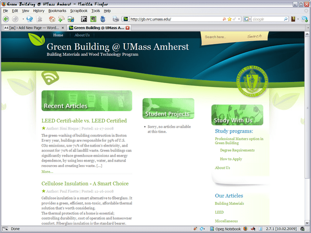 UMass Green Building Microsite