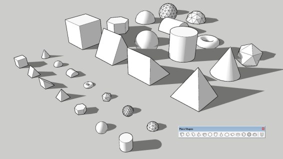 All of the shapes (front scale: 1 ft, back scale: 1 m)
