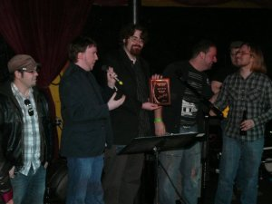 Shryne (L-R Jeff Cruz, Alex Tirrell, Jon Brennan, Andrew Sharp, Anthony Mattera) accepting their award for Band of the Year from Limelight Magazine in March 2011. Photo by Kari Tieger.