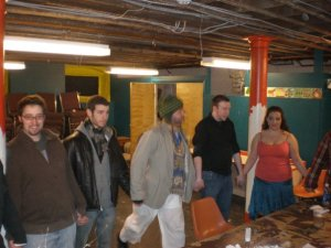 Alex with the band and cast of RENT in February 2010. Photo Courtesy of Lindsay Zaroogian.