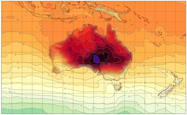 Bureau of Meteorology weather map of January 5, 2013