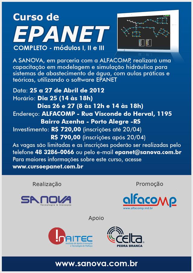 Curso de EPANET acontece de 25 a 27 de Abril em Porto Alegre