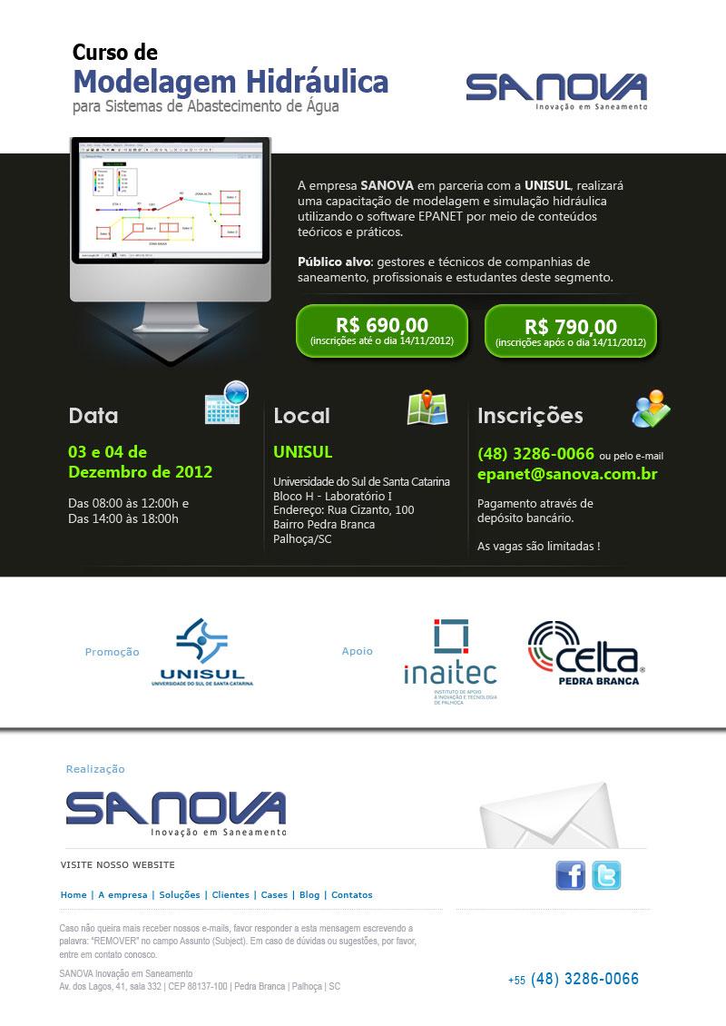 Curso de modelagem hidráulica de 3 a 4 de dezembro pela SANOVA