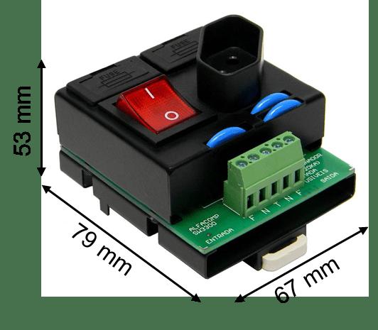 Dispositivo de proteção contra surtos, seccionador e tomada em um módulo compacto