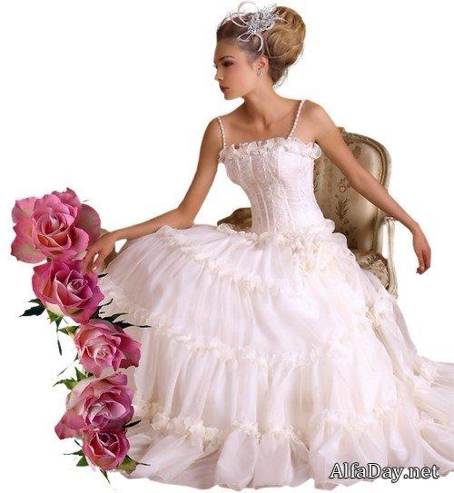 Невеста в венчальном платье - клипарт на прозрачном фоне ...