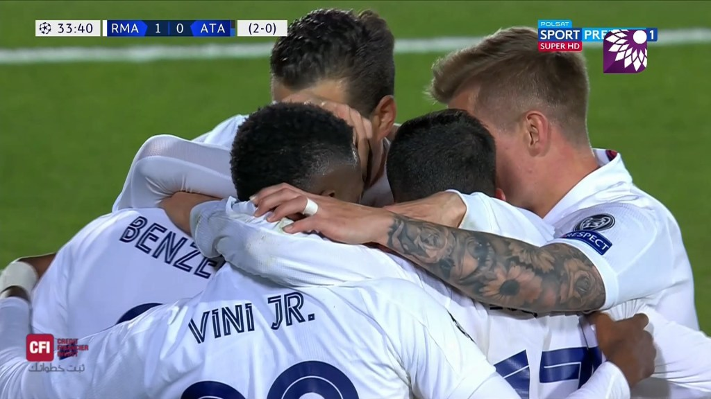 شاهد الهدف الاول ( 1-0 ) لصالح ريال مدريد في شباك اتلانتا
