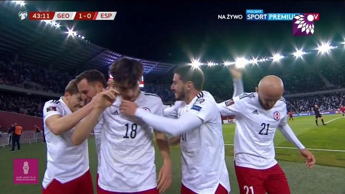 شاهد الهدف الاول ( 1-0 ) لصالح جورجيا في شباك اسبانيا