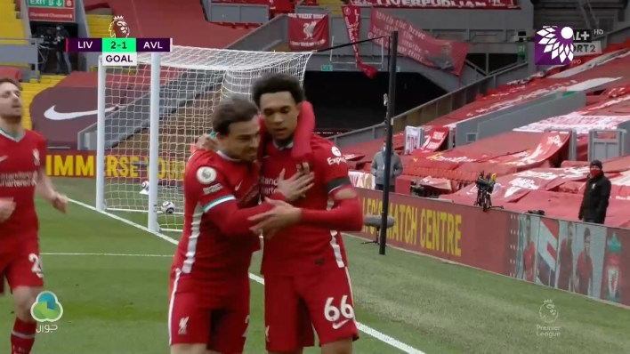 شاهد الهدف الثاني ( 2-1 ) لصالح ليفربول في شباك أستون فيلا