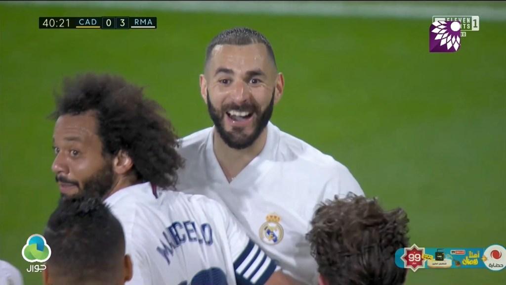 شاهد الهدف الثالث ( 3-0 ) لصالح ريال مدريد في شباك قادش