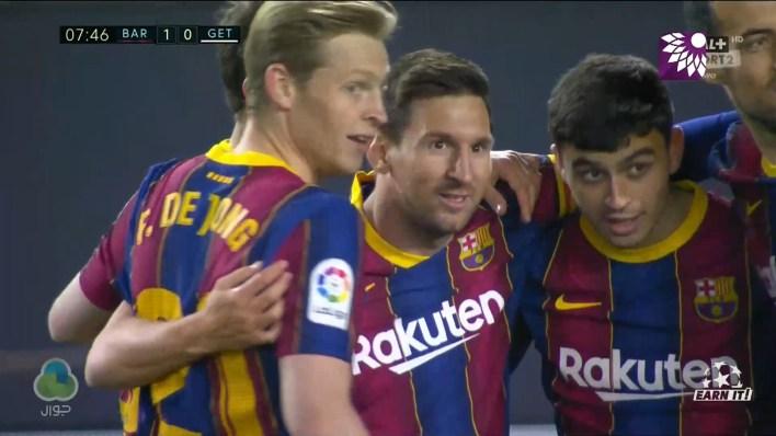 شاهد الهدف الاول ( 1-0 ) لصالح برشلونة في شباك خيتافي