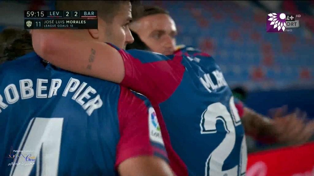 شاهد هدف التعادل الثاني ( 2-2 ) لصالح ليفانتي في شباك برشلونة