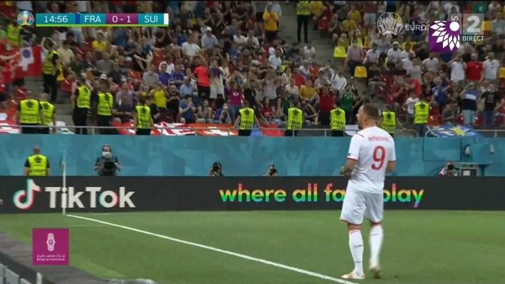 شاهد الهدف الاول (1 – 0) لصالح سويسرا في شباك فرنسا