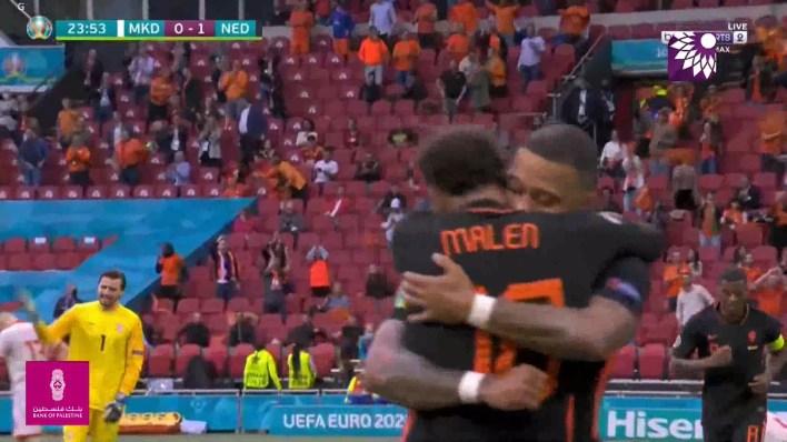 شاهد الهدف الاول (1 – 0) لصالح هولندا شباك مقدونيا