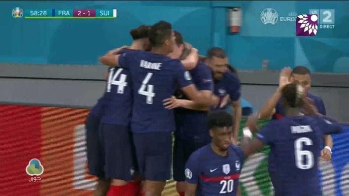 شاهد الهدف الثاني (2 – 1) لصالح فرنسا في شباك سويسرا