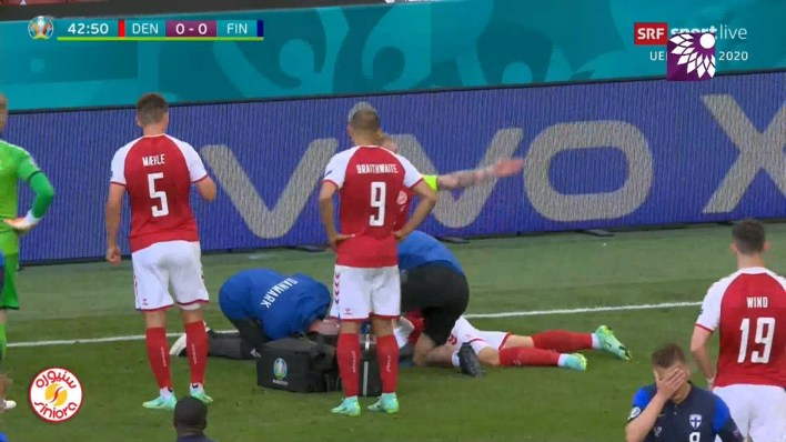 لحظة سقوط اللاعب الدنماركي كريستيان إريكسن فجأة أثناء مباراة منتخبه ضد فنلندا