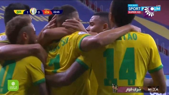 شاهد الهدف الاول ( 1-0 ) لصالح البرازيل في شباك فنزويلا