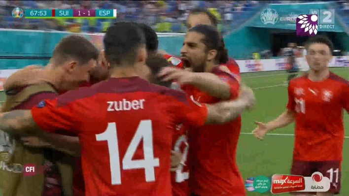 شاهد هدف التعادل ( 1-1 ) لصالح سويسرا في شباك اسبانيا