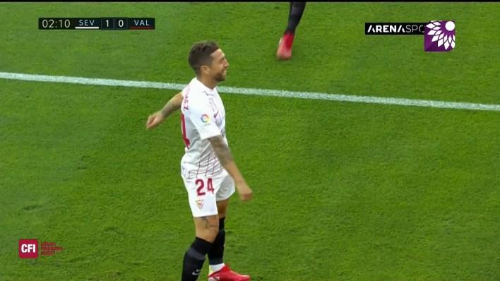 شاهد الهدف الاول (1-0) لصالح اشبيلية في شباك فالنسيا