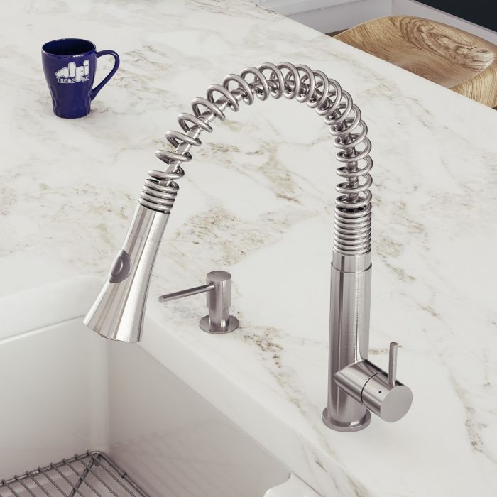 alfi brand ab2032 stainless steel kitchen faucet with pull down shower spray