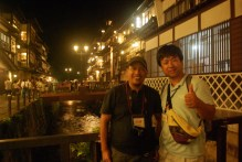 With Jun-San on the bridge of Ghinzan Onsen
