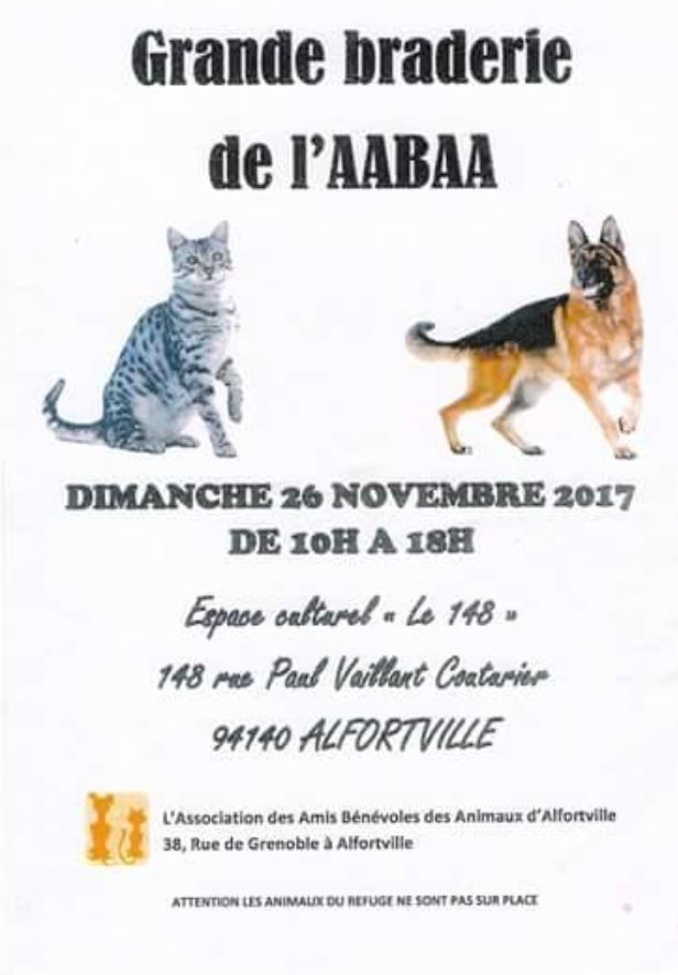 Grande braderie AABAA refuge pour animaux Alfortville -
