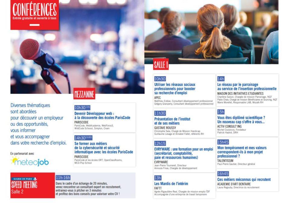 Paris pour l'emploi des jeunes ateliers et conférences