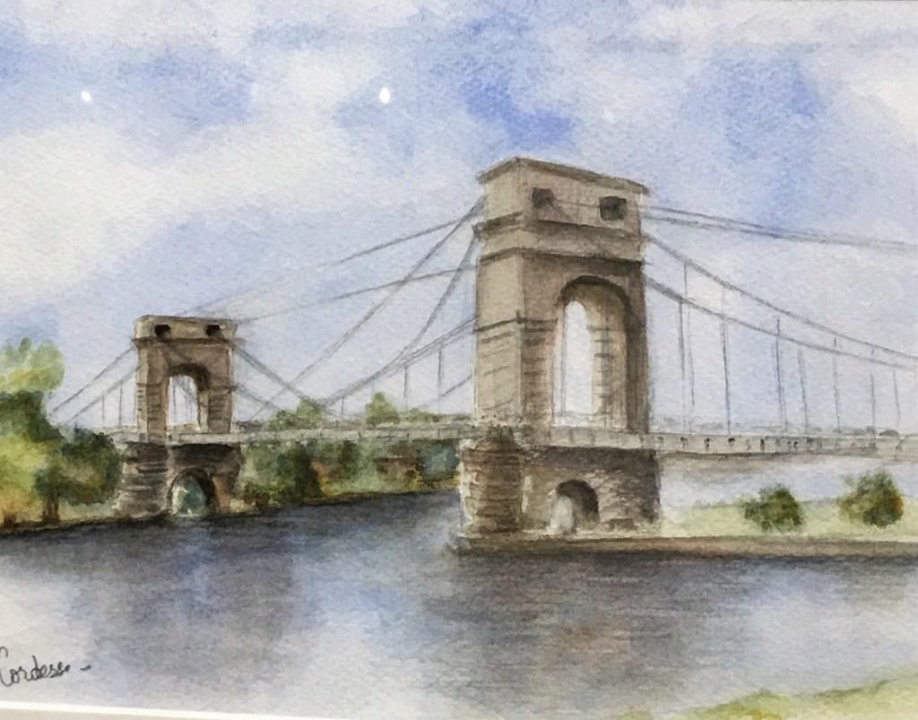 Alfortville le Pont Suspendu du Port à l'Anglais Tableau @Cordese Exposition Art en Seine 4A